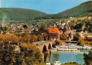 Wertheim Main Bridge und F. S. Franken Friedrich Herz Bridge Boats Postcard