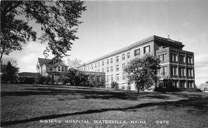 Waterville ME Sister's Hospital Old Cars RPPC Real Photo Postcard