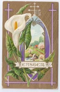 Vintage Easter Postcard Calla Lily Embossed Gold Moire Gilt Nash 1914