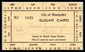 WWII? Sugar (Ration) Card? - Montpelier, Vermont A2