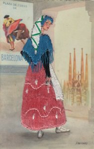 BARCELONA, Spain, 30-40s; Woman in embroidered dress, Bull fight advertisement 2