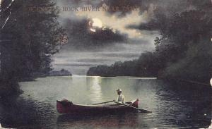 Tampico Indiana~Scene On Rock River~1910 Postcard