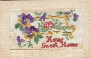 Hand Sewn, 1900-10s; Home Sweet Home, House scene, flowers
