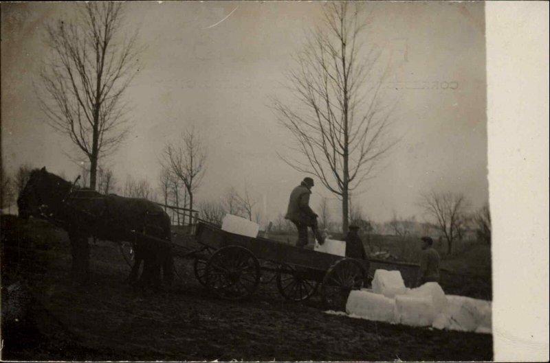 Ice Industry Large Blocks Horse Wagon c1910 Real Photo Postcard #2