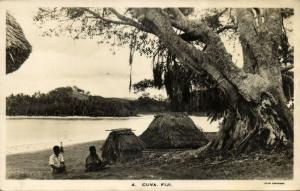 fiji islands, CUVA, Native Houses (1930s) RPPC