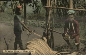 Native Philippines Men Stripping Hemp Labor Iligan Mind Publ Manila Postcard