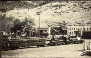 Idaho Springs CO Town & Train Sanborn Real Photo Postcard