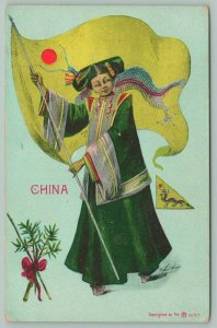 G Howard Hilder~National Girl Series~Lovely Lady China~Chinese Dragon Flag~1908