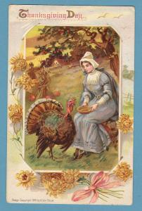 Thanksgiving Day Embossed Postcard Holiday Vintage / Antique