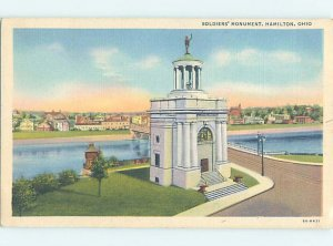 Linen SOLDIERS MONUMENT BY RIVER Hamilton by Dayton & Cincinnati OH AE7616@