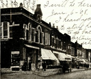 Oak Street Looking North From 5th Garnett Kansas Vintage Standard View Postcard