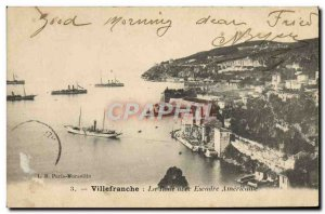 Old Postcard Villefranche Sur Mer bay with American Yacht Squadron