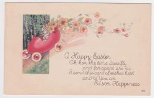 Fantasy Easter Bunny Rabbit Red Egg Car Flowers Vintage Postcard A35