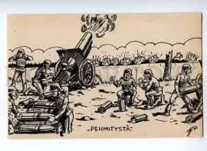 190562 WWII FINLAND Caricature ARTYLLERYMEN ANTI-RUSSIAN Old
