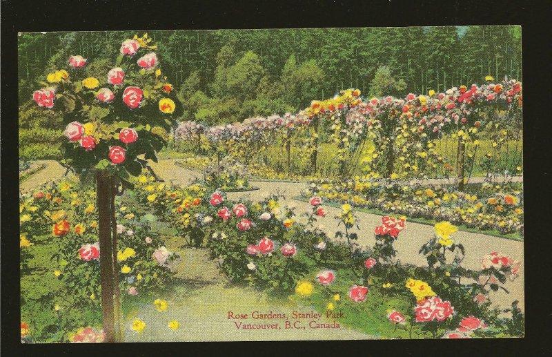 Postmark 1948 Vancouver BC Rose Garden Stanley Park Color Postcard
