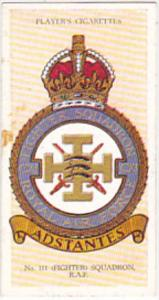 Cigarette Card Player and Sons R AF Badges 1937 No 43 # 111 Fighter Squadron