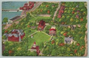 Beloit Wisconsin~Aerial View College Campus~Waterfront~1940s Linen Postcard