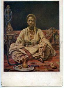 154379 OPIUM SMOKER Black Woman by REPIN vintage PC