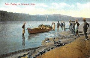 Vintage c1910 USA Postcard, Seine Fishing on Columbia River Washington Boats BA8
