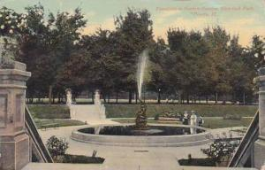 Illinois Peoria Fountain In Sunken Garden Glen Oak Park 1910