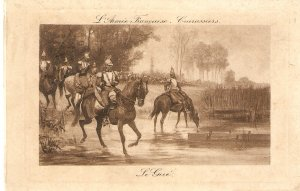 L'Armee Francaise. Curasiers. Horses Old vintage French postcard