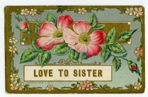 Postcard Love To Sister Embossed Standard View Card
