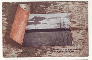 P163 JL old postcard birch bark frame lake montague mass