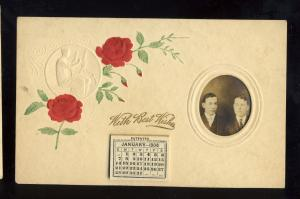 Beautiful Greeting Postcard, With Best Wishes, 1906 Calendar, Photo Insert