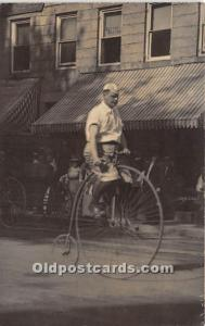 Man on bicycle Real Photo Unused
