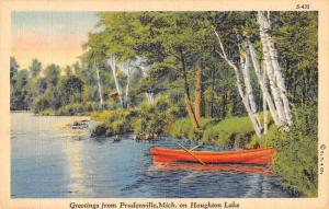 Prudenville Michigan Greetings From boat on Houghton Lake antique pc ZA440416