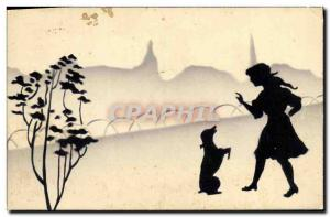 Old Postcard Child and Dog