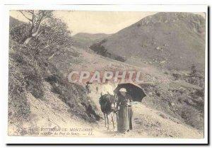 Surroundings Mont Dore Old Postcard mule path of the Puy de Sancy (ass donkey)