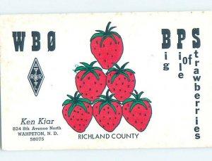 Pre-1980 RADIO CARD - CB HAM OR QSL Wahpeton North Dakota ND AH2329