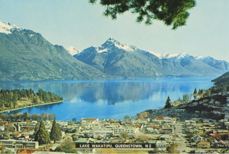 Lake Wakatipu Queenstown NZ New Zealand Birdseye Unused Vintage Postcard D22