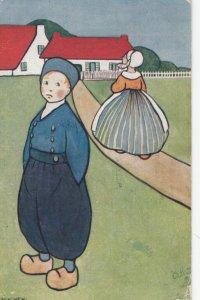 AS; TUCK #9322, Dutch boy watching girl walk home, PU-1908