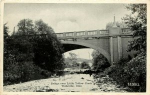 Vintage Postcard Bridge over Little Yellow Creek, Wellsville OH Columbiana Co.