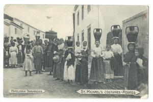 St Michaels Costumes, Azores PPC, Unposted, Early Social History Card