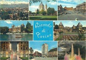 Postcard Italy Torino Fountain lake panorama