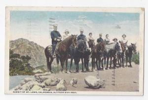 Mt Lowe CA Summit 1921 Postcard Horseback Riders