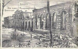 belarus russia, GRODNO HRODNA, Railway Station in Ruins (1915) Postcard
