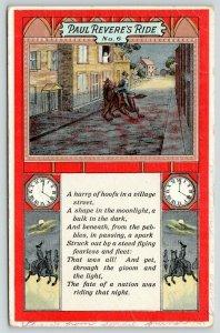Patriotic~Midnight Ride of Paul Revere No 6~Village~Clock & Horse~Emboss~1911