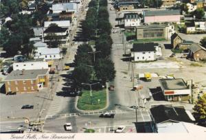 Aerial view, Broadway Street Main Business Area,  Grand Falls,  New Brunswick...