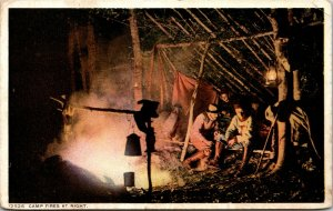 1916 PHOSTINT POSTCARD W/ CAMP FIRES AT NIGHT  - CAMPING - VINTAGE - POSTED