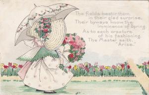 Woman wearing bonnet, umbrella, Garden of Colorful Tulip Flowers, 00-10s