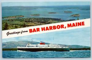Postcard ME Banner Dual View Greetings From Bar Harbor Maine Vintage #2 O16