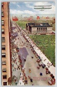 Chicago Illinois~Walter Brookins Bi-Plane Over Grant Park~Art Institute~1910 PC