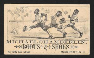 VICTORIAN TRADE CARD Chamberlin Boots 3 Black Men Running