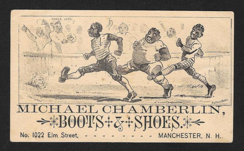 VICTORIAN TRADE CARD Chamberlin Boots 3 Black Men Running