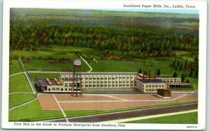 Lufkin, Texas Postcard Southland Paper Mills, Inc. Factory Aerial View Linen