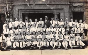 Sumner School Class~Headmaster~Pennants~Students Graduation Ribbons~1920s RPPC